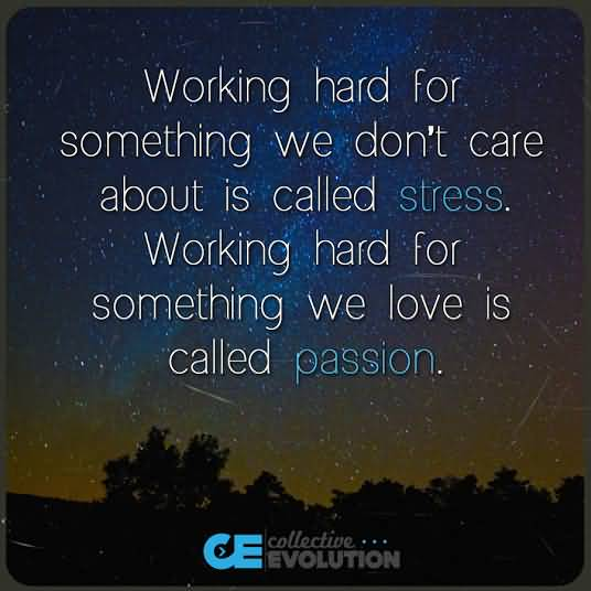 Stress Quotes working hard for something we don't care about is called stress. Working hard for something we love is called passion.