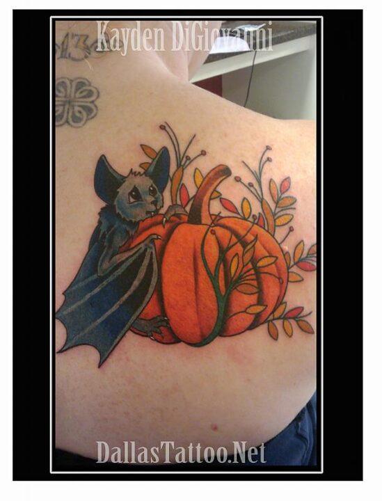 Stunning Bat Pumpkin Halloween Tattoo Image For Girls