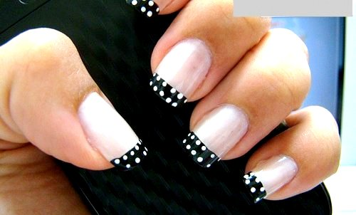 Stunning Black And White Nail Art On Tips