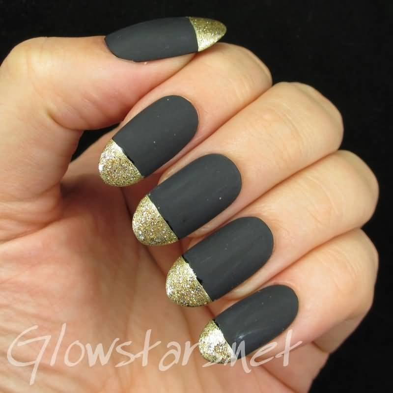 Stunning Black Matte Nails With Golden Tip