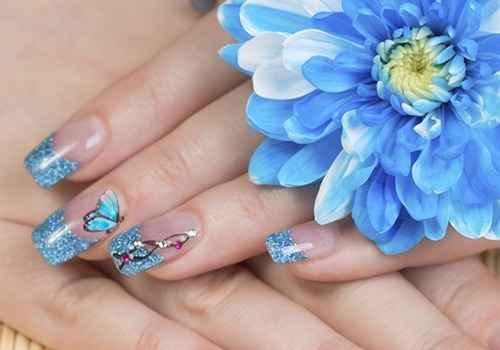Stunning Butterfly Nail With Sparkling Tips
