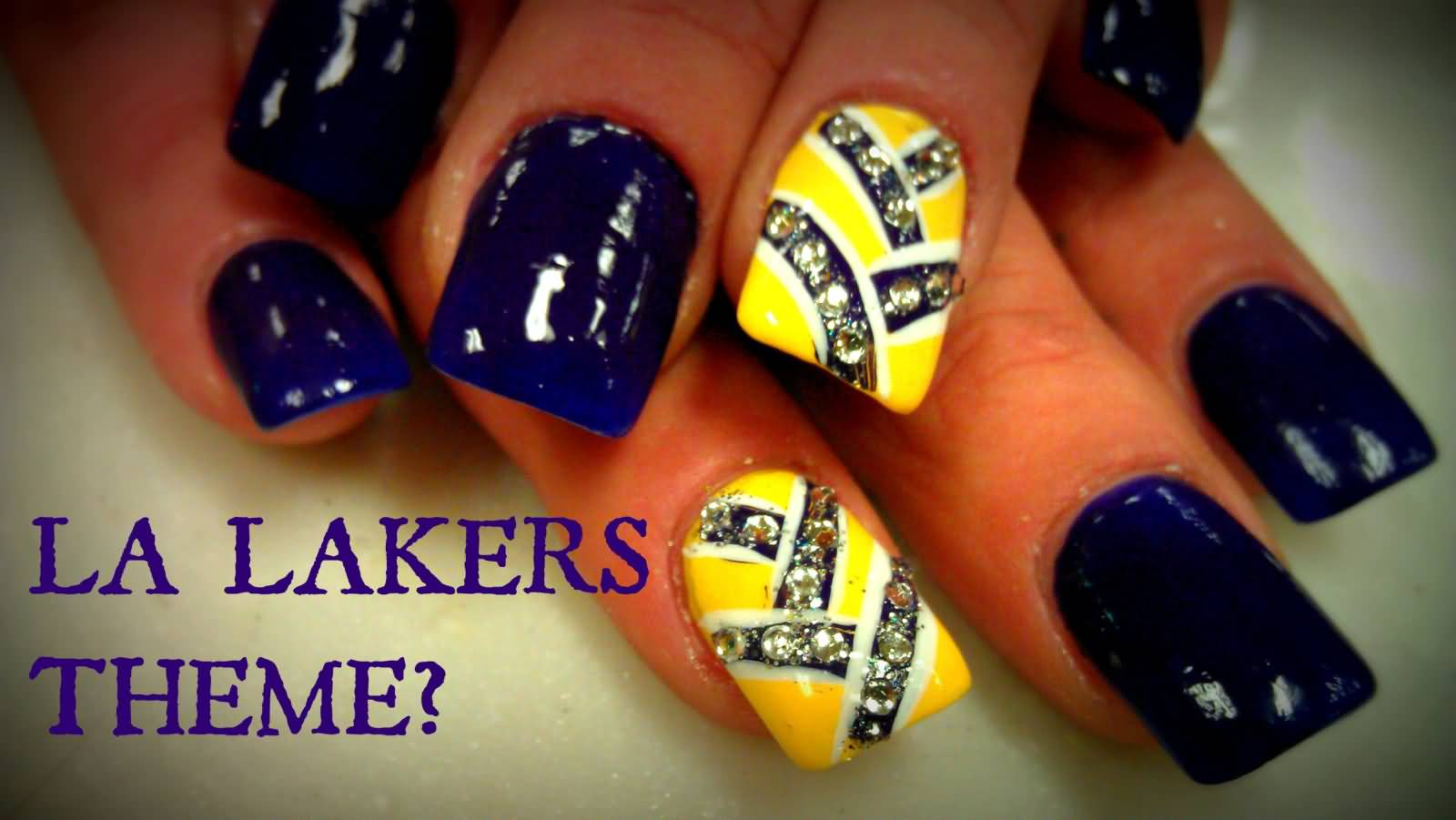 Stunning Crystal With Yellow And Blue Nails