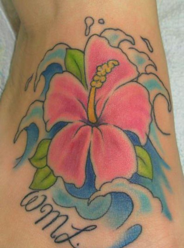 Stunning Hibiscus Flower Tattoo For Boys