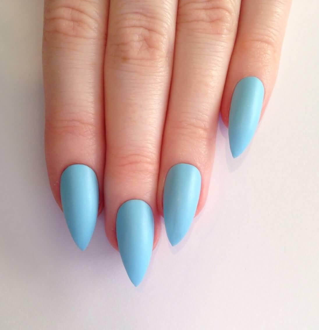Stunning Light Blue Nails Sharp Design