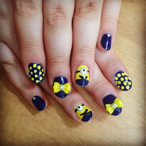 Stunning Yellow And Blue Nails With 3D Bow