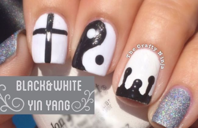 Stunning Yin Yan Design With 4 Different Design Black And White Nails