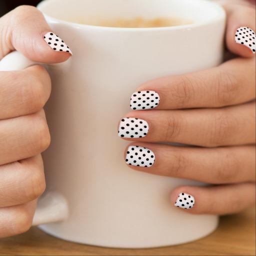 Superb Black And White Polka Dot Nail Art With A Mug