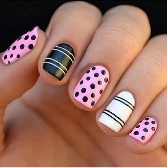 Superb Black And White Polka Dot Nail Art With Pink Nail Paint