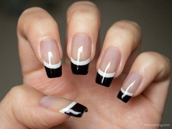 Superb Black French Tip Nails With Nude Nails - Superb Black French Tip Nails With Nude Nails Picsmine