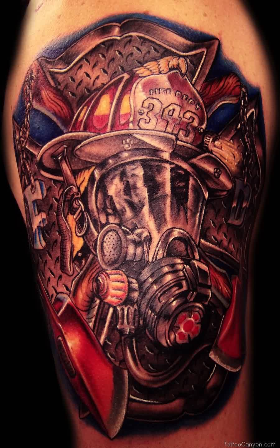 Superb Firefighter Helmet Tattoo For Boys