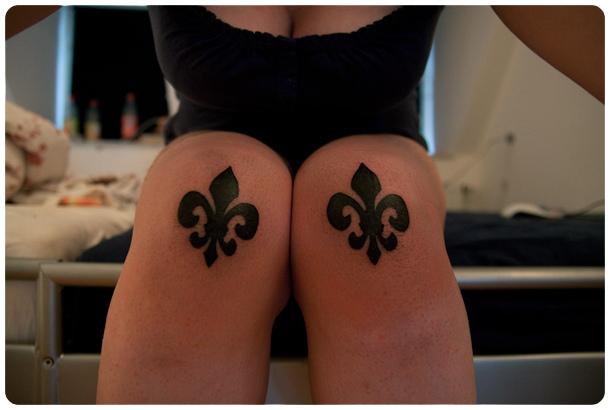 Superb Fleur De Lis Tattoo On Both Knees For Boys And Girls