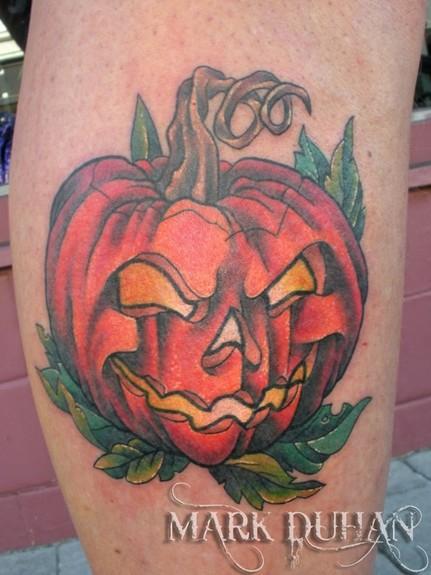 Superb Halloween Pumpkin Tattoo Design For Girls
