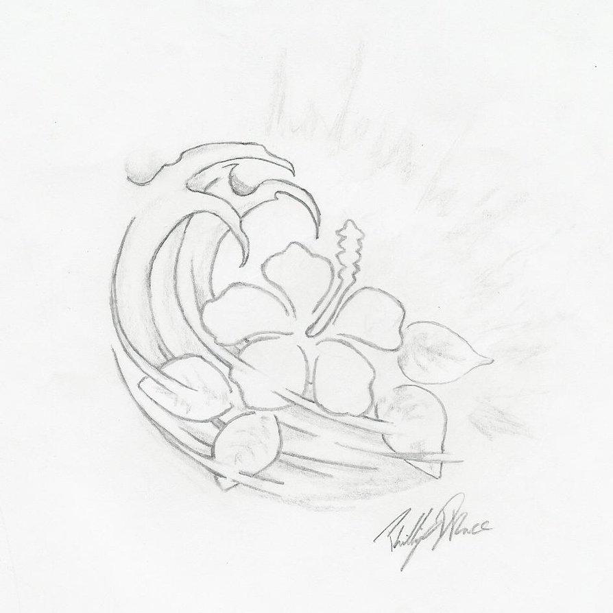 Superb Hawaiian Flower Tattoo Sketch For Boys