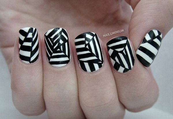Superb Net Of Spider Design In Black And White Nail Art