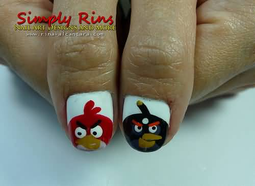 Superb Red And Black Angry Bird Nail Art Design