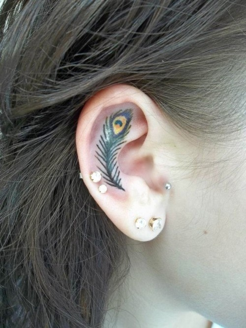 Superb Small Feather Tattoo In Ear For Girls