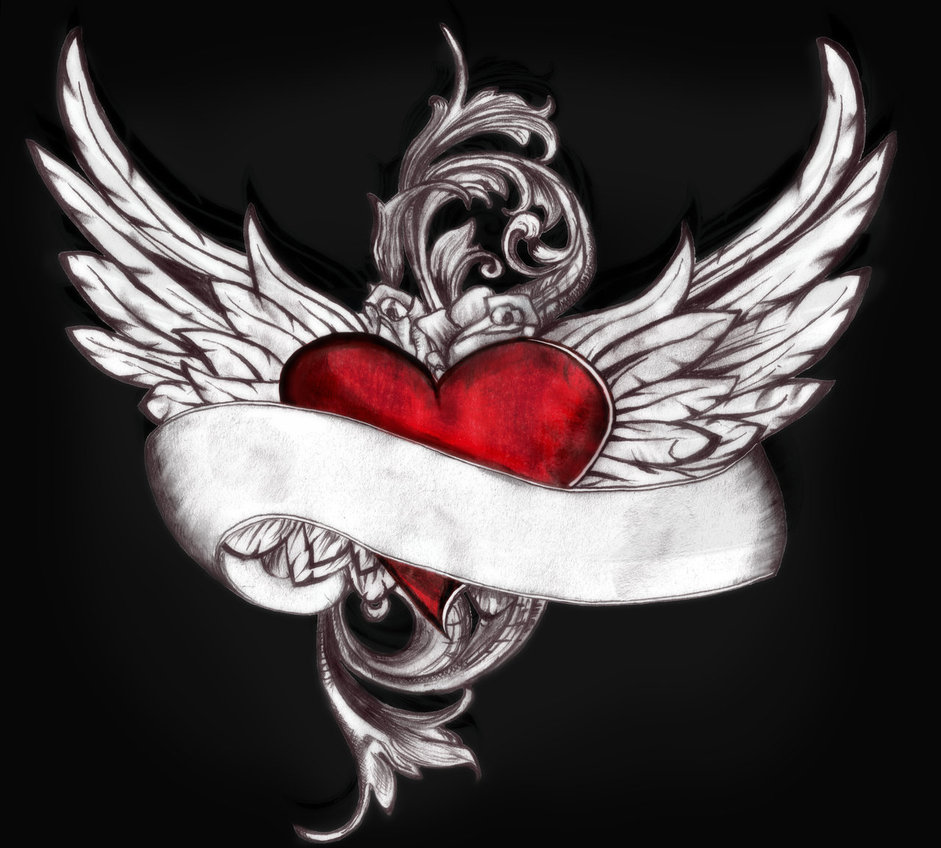 Superb Winged Heart Tattoo Design Over Black Background For Girls