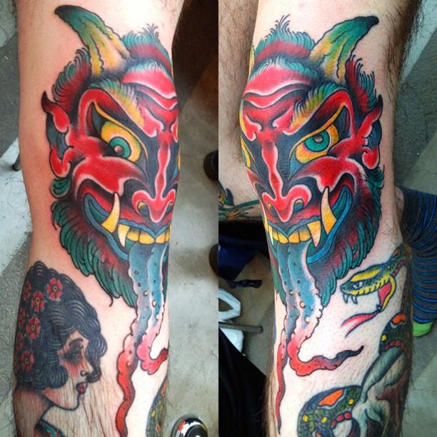 Sweet Demon Head Knee Tattoo Design For Boys