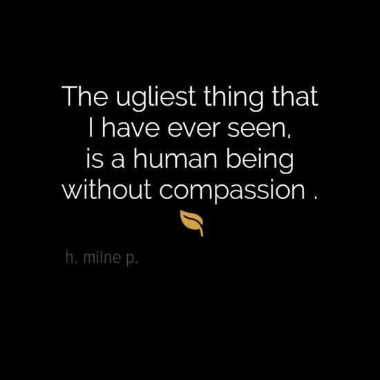 Sympathy Sayings the ugliest thing that i have ever seen, is human being without compassion..