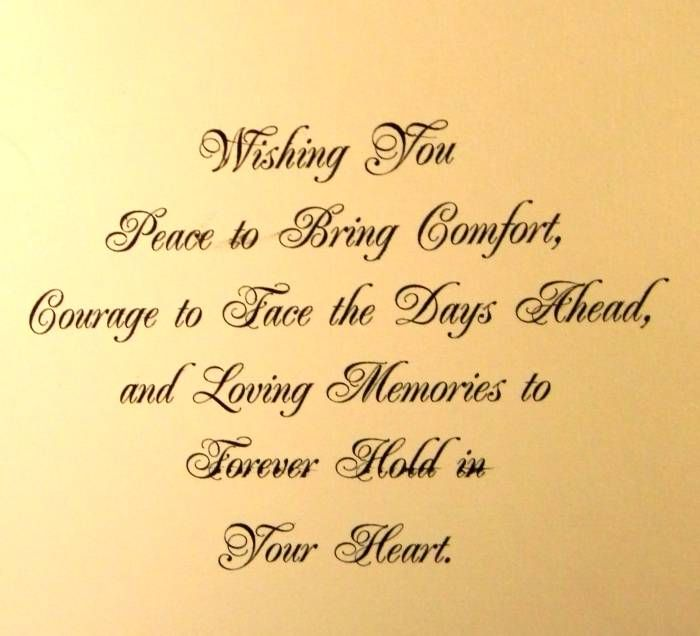 Sympathy Quotes Wishing You Feace To Bring Comfort Dourage To Face The Days Ahead Picsmine