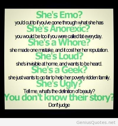 Teen Quotes she's emo. you'd cut to if you've gone through what she has...
