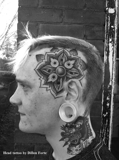 Traditional Head Dot work Tattoo Design For Boys