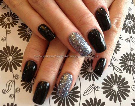 Tremendous Black And Silver Color Sparkle Design Black Acrylic Nail Art