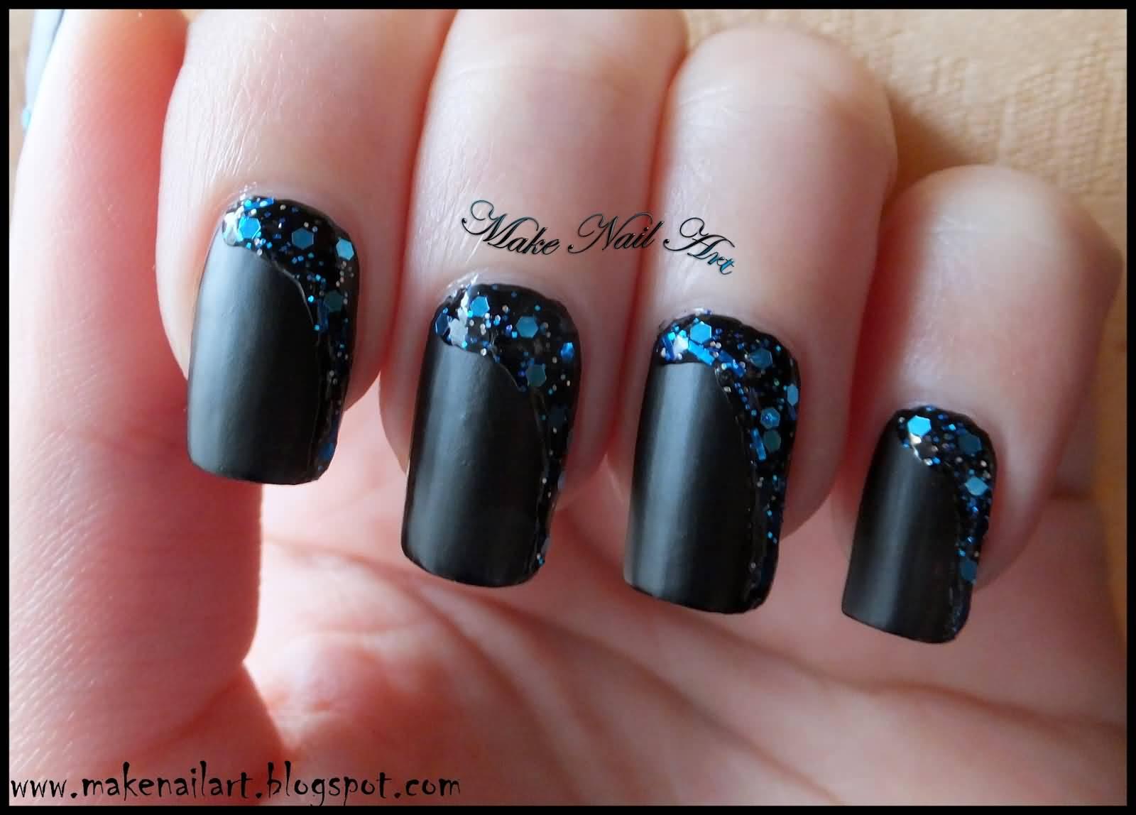 Tremendous Black Matte Nails With Blue Crystal Design