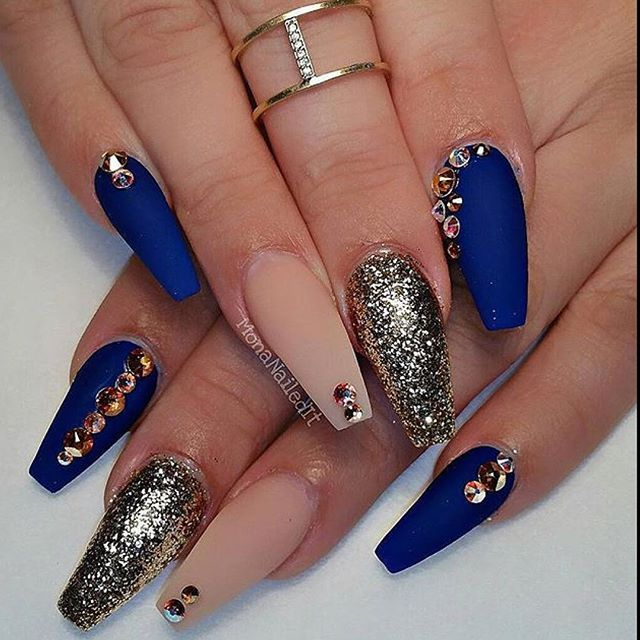 Tremendous Blue Nails With Golden Crystal Design