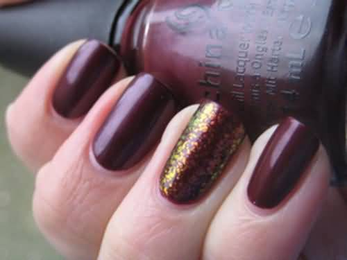 Tremendous Dark Brown Nail Paint Accent Nail Art