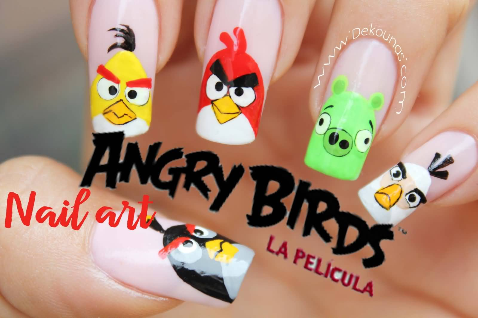 Tremendous Different Color Nail Art Design Angry Bird Nail Art Design
