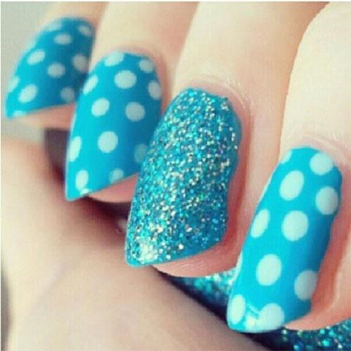 Tremendous Light Blue Nails With Sparkling Nail Paint