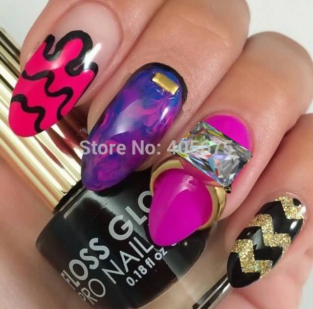 Tremendous Pink And Black Stripes With Ring 3D Nail Art