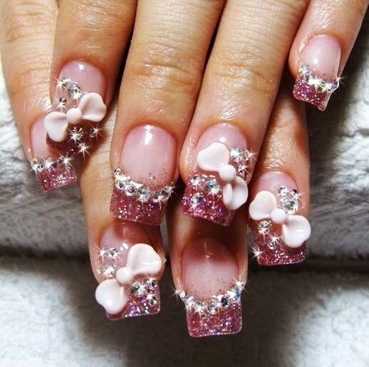 Tremendous Pink Color Tip With Pink Ribbon 3D Nail Art