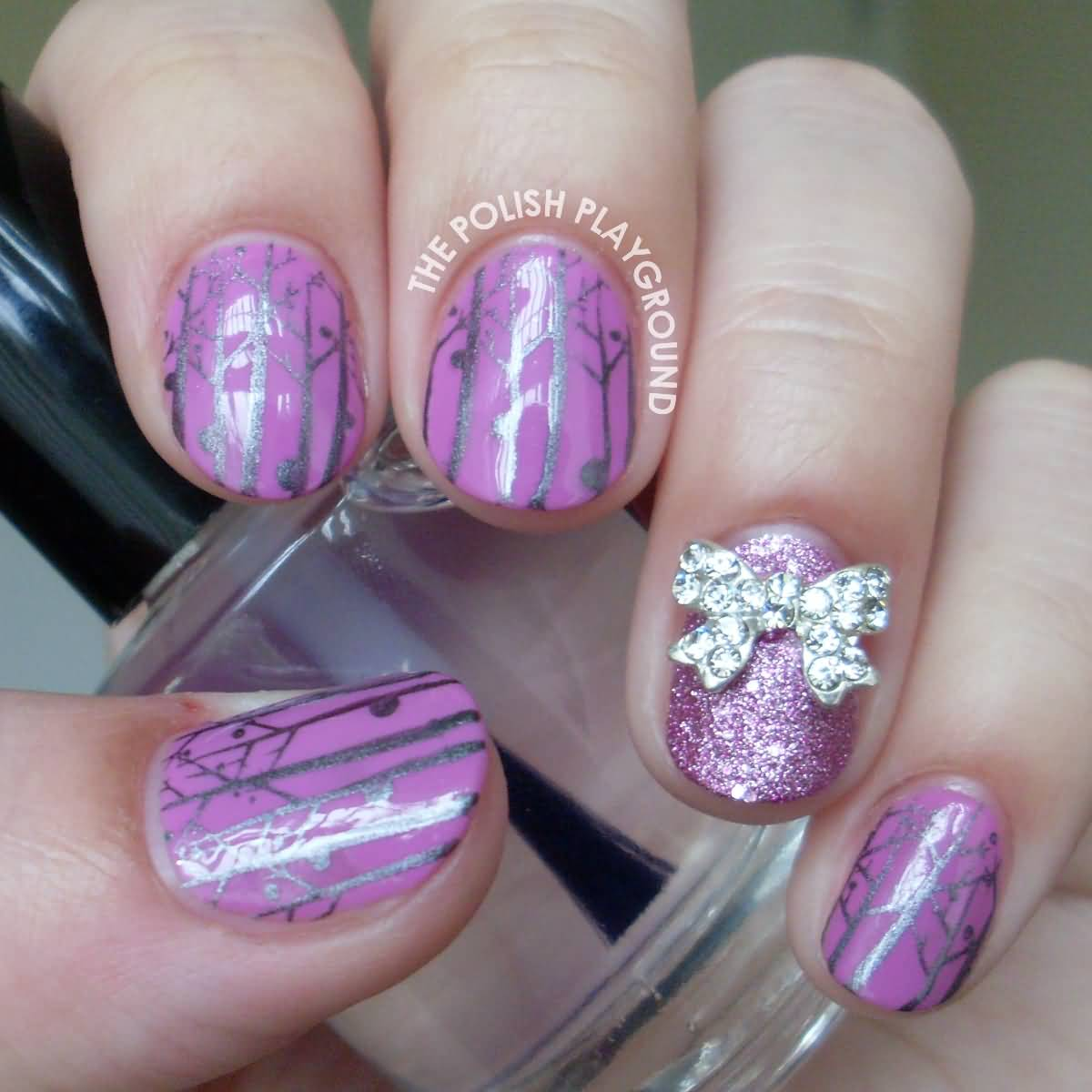 Tremendous Purple Color Accent Nail Design