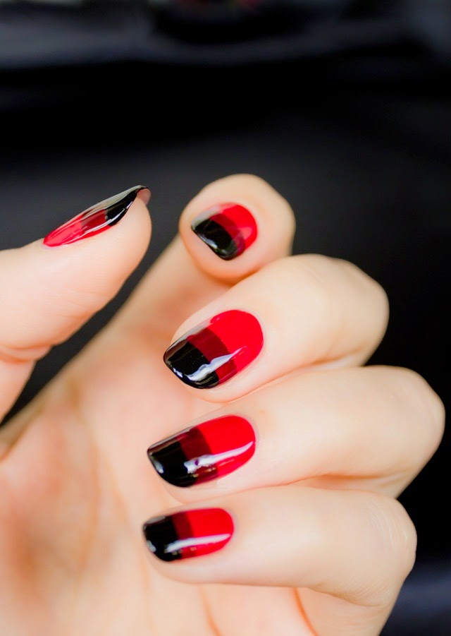 Tremendous Red And Black Nails With Black Color Tip