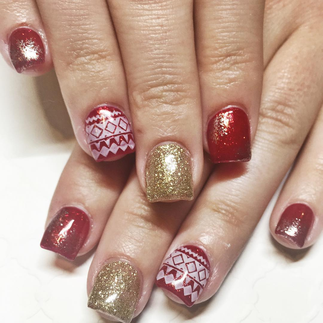 Tremendous Red Paint With Golden Color Acrylic Short Nail Design