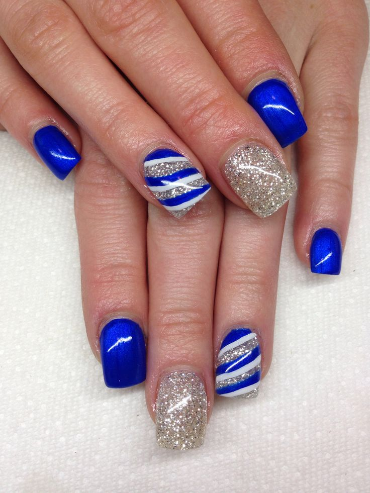 Trending Blue Nails With Sparkling Silver Color