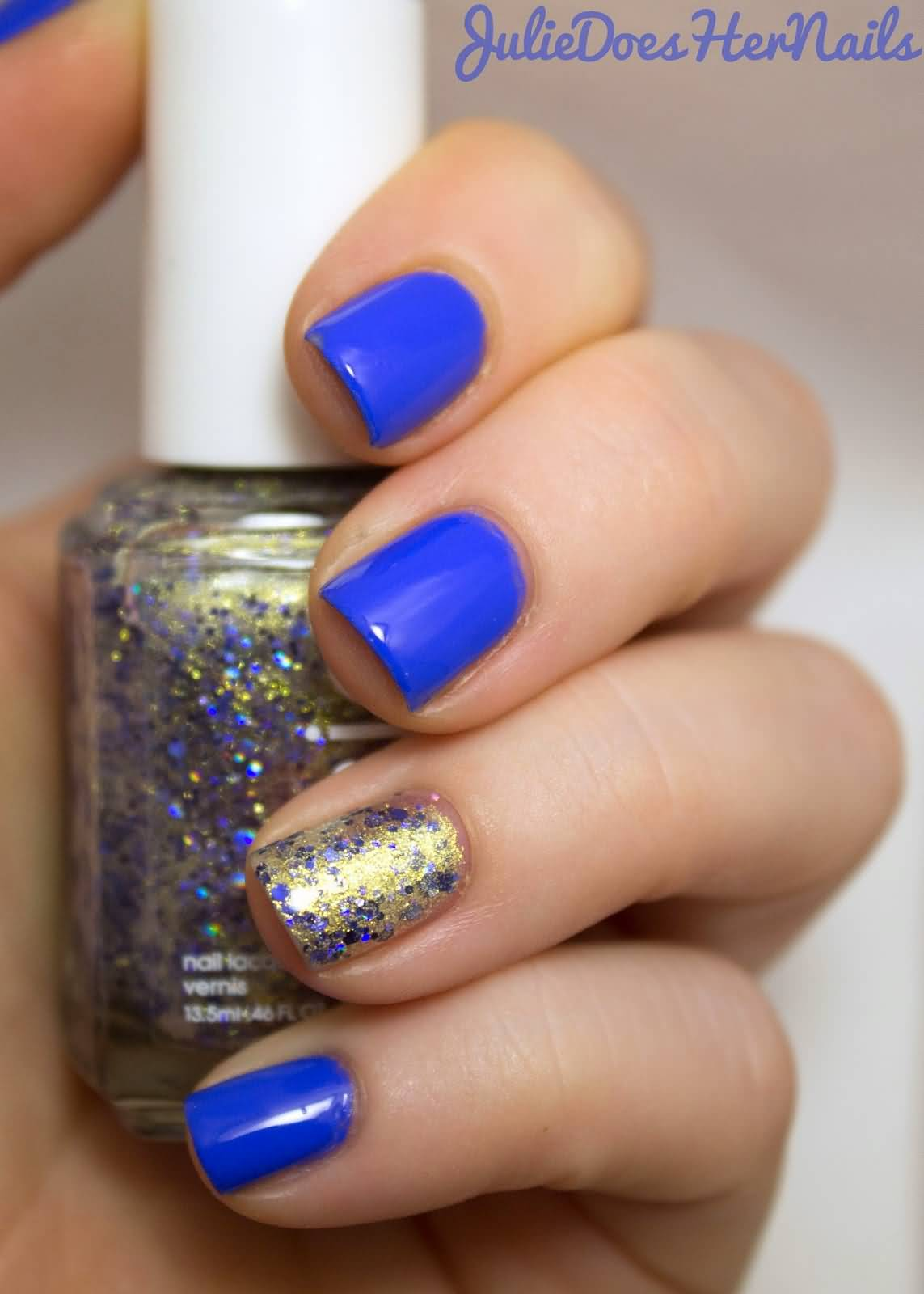 Trendy Blue With gold Glitter Accent Nail Art