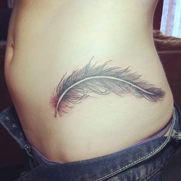 Trendy Feather Tattoo On Waist For Women