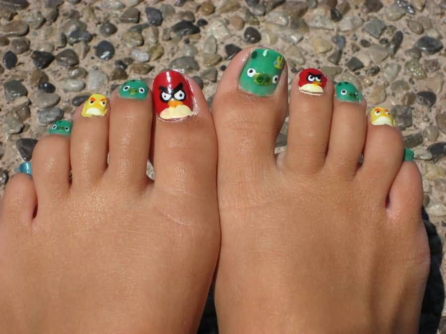 Trendy Finger Nail paint Angry Bird Nail Art Design