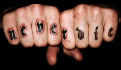 Trendy Never Die Tattoo On Fingers For Boys