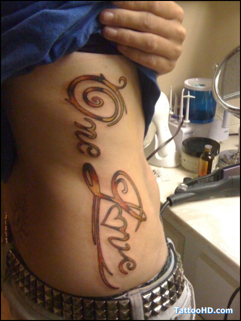 Trendy One Love Heart Tattoo On Ribs For Girls