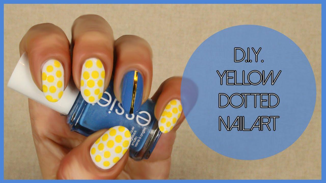 Trendy Polka Dot Nail Design Yellow And Blue Nails