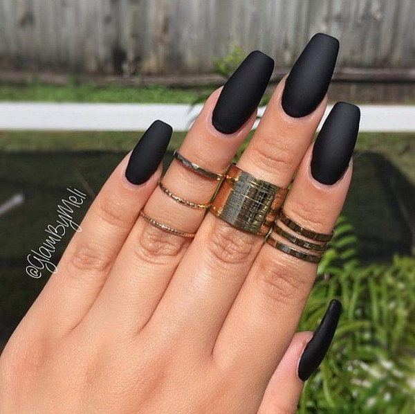 Trending Black Matte Nails With Superb Shape