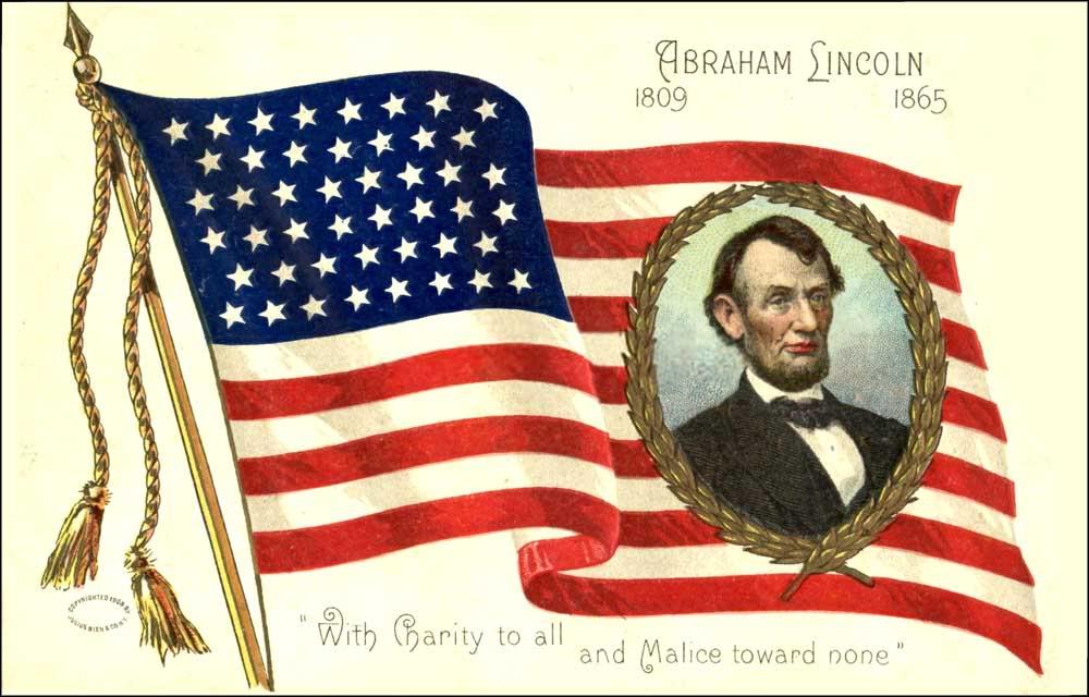 USA Flag Abraham Lincoln Birthday Special Image