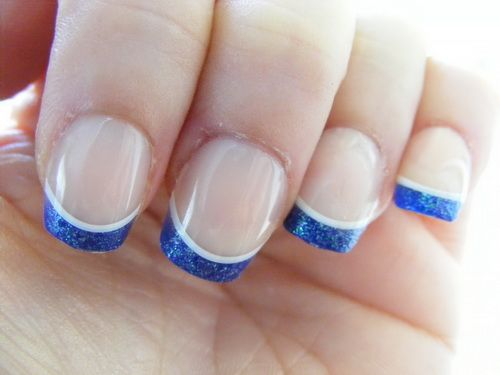 Ultimate Blue Color tip With Natural Color Of Nail Acrylic Short Nail Design