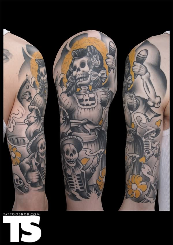Ultimate Dia De Los Muertos Tattoo Designs On Sleeve For Girls ...
