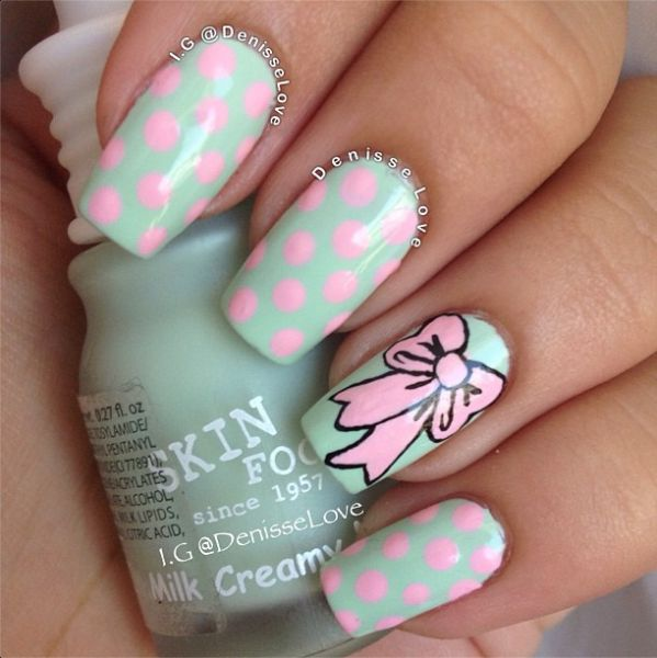 Ultimate Pink Dotted With Ribbon And Sky Blue Nail Paint Accent Nail Art