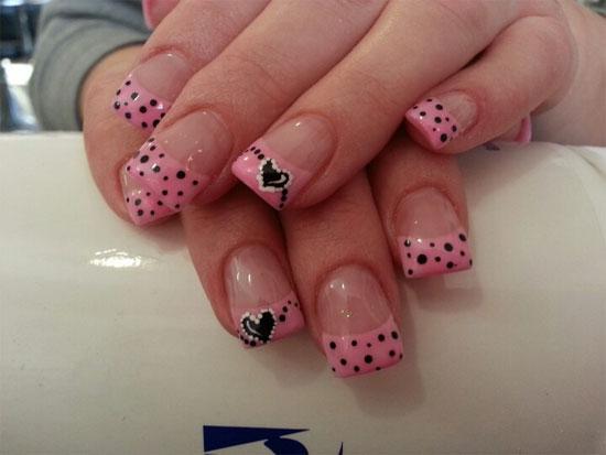 Ultimate Pink Paint With Black Dot Acrylic Short Nail Design